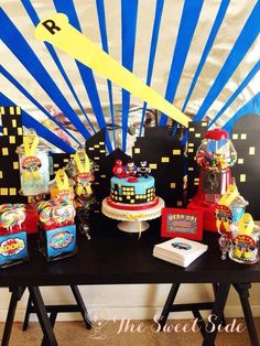 Awesome dessert table at a Superhero boy birthday party!  See more party planning ideas at CatchMyParty.com!