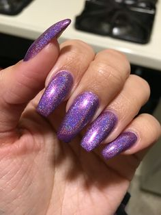 Holographic nails purple nails coffin ballerina shape