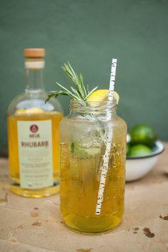 RHUBARB Green Tea Cooler Cocktail