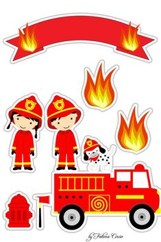 Topo de Bolo Bombeiro Fireman Firefighter Birthday, Fireman Sam, Plastic Doll, Ag Doll Clothes, Paper Toys, Fire Trucks, Preschool Activities, Diy And Crafts, Decoration