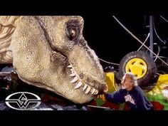 Behind the scenes of JURASSIC PARK. Animatronic T-Rex Rehearsal. Behind the Scenes with the Stan Winston Dinosaur crew.