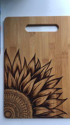 Hand burned bamboo cutting board For sale Wood Burning Stencils, Wood Burning Crafts, Wood Burning Patterns, Wood Burning Art, Wood Crafts, Wood Burning Techniques, Wood Burn Designs, Sunflower Mandala, Pyrography
