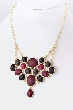 Chunky Necklace with great autumn/winter colors of wine red, black and gold.