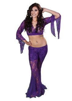 Miss Belly Dance Women's Lace Pants & Top Costume Set   Lace It Up