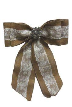 bow, burlap & lace w/jewel