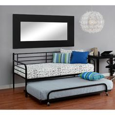 FOR MY OFFICE/GUEST ROOM.... Metal Daybed with Trundle, Black