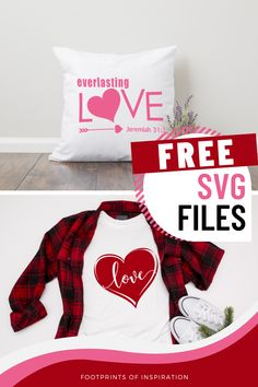 Create so adorable, must-have gifts with these FREE Valentine SVG Files. #footprintsofinspiration #freesvg #vinylDIY #valentineDIY #valentineSVG #silhouette #cricut Free Svg Cut Files, Christmas Pillow, Vinyl Projects, Valentine Crafts, Program Design, Svg Cuts, Diy Gifts, Cricut, Silhouette
