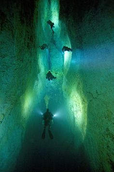 Picture of divers illuminating a blue hole on Andros Island - Deep Dark, National Geographic Sea Diving, Cave Diving, Underwater Caves, Bahamas Island, Bahamas Vacation, Blue Hole, Mysterious Places, Alaska Travel, Paradise Island