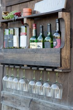 Inverted Wine Rack Wall Wine Rack Wood Wine by GreenmanRustics Wine Rack Wall, Wine Glass Rack, Rustic Wine Racks, Wine Bottle Crafts, Pallet Furniture, Wood Pallets, Pallet Wood, Wood Projects, Decoration