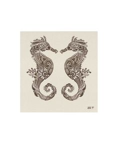 Mehndi style Seahorses Archival Print 8x10 5x7 9x12 or by LunaReef
