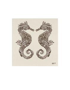 Ser ut som min tatuering!  (originaltext till bild: Mehndi style Seahorses Print from my Original by calamaristudio, $14.00)
