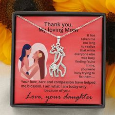 Thank You Mom Giraffe Necklace From Daughter, Mother Gift, Christmas G – Shiny Jewelry Charm Mother Christmas Gifts, Christmas Store, Mother Gifts, Christmas Shopping, Giraffe Necklace, Tarnished Jewelry, Thank You Mom, Marry You, Gifts For Wife