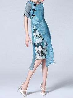 Half Sleeve Printed Silk Buttoned Midi Dress