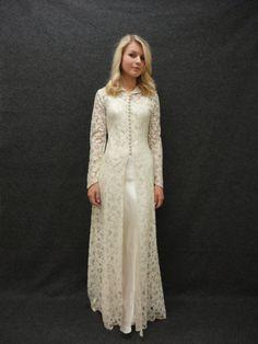 Wedding Dress // Vintage 1930s Lace Wedding Dress Over Liquid Satin Underdress Size M L. $695.00, via Etsy.