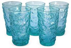 Aqua Crinkle Glasses, S/5 Crackle Glass, Vintage Market, Crinkles, Textures Patterns, Vintage Furniture, Glass Vase, Aqua, Glasses, Antiques