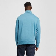 Men's Big & Tall Quarter Zip Fleece Pullover Sweater - Merona Teal (Blue) 4XBT, Size: 4XB Tall