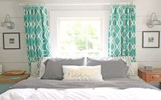 Bed in front of window, wall lamps  shabby-creek-bedroom