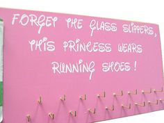 Run disney medals and bibs display by runningonthewall on Etsy - I'd like to change to say ghillie's instead of running shoes! Disney Races, Run Disney, Disney Running, Trophy Display, Award Display, Race Quotes, Running Medals, Disney Marathon, Race Bibs