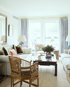 Funny, Ashley Whittaker one of my fave designers ever has used a bit of Pantone's Serenity and Rose Quartz but it works so well because it is balanced out with the chocolate yummy brown, lots and lots of white, beige, black and gold. #perfectlivingroom #ashleywhittaker