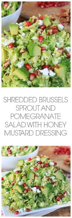 Shredded Brussels Sprout and Pomegranate with Honey Mustard Dressing