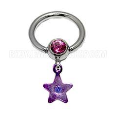 Clip-In Jewelled Star Ball - Purple