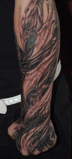 Bio mechanical half sleeve by Jorge A gWooKi, via Flickr