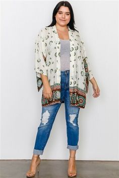 NWT Womens Plus Size Open Front Kimono Cardigan Cover Up 1X 2X 3X #Unbranded #OpenFront