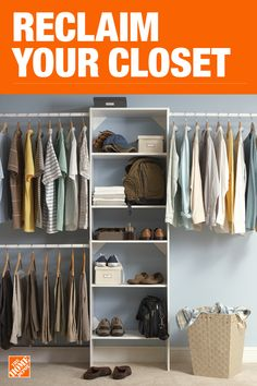 The Home Depot has everything you need for your home improvement projects. Click through to learn more about our storage and organization offerings. Home Depot Closet, Closet Redo, Bedroom Closet Design, Master Bedroom Closet, Kid Closet, Closet Designs, Closet Storage, Closet Organization, Interior Design Living Room