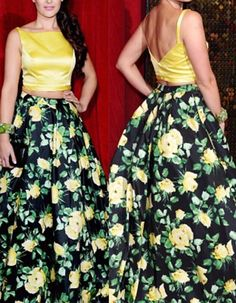 Women's Two Piece Floral Print Prom Dresses Long Evening Gowns