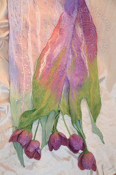 мастер-класс по валянию палантина в технике нуно с цветами - Ярмарка Мастеров - ручная работа, handmade