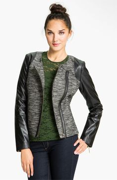 """""""Leather details make the world go 'round."""" Cheers to that!  Trouvé Faux Leather Sleeve Tweed Jacket"""