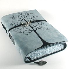 Big Winter Tree by kreativlink on DeviantArt Leather Notebook, Leather Books, Leather Journal, Journal Diary, Journal Notebook, Winter Trees, Handmade Books, Book Binding, Book Of Shadows