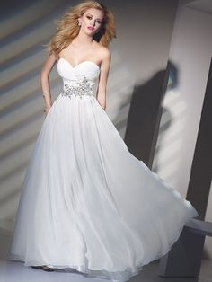 6f060ee3f2f0c Empire Strapless Beading Organza Long White Prom Dress- kinda like the idea  of a non-wedding dress wedding dress