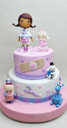 If the birthday cake design is different, meaningful, the kids, children and adults will appreciate it. Happy Birthday Cake Images, Birthday Cake Girls, 3 Year Old Birthday Cake, 3rd Birthday, Birthday Ideas, Fondant Cakes, Cupcake Cakes, Fondant Girl, Doc Mcstuffins Birthday Cake