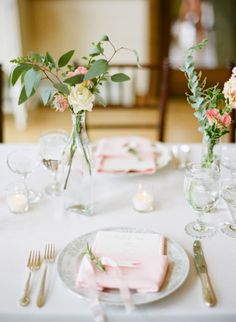 Pink table setting.