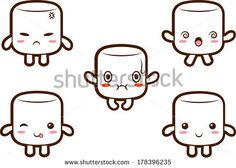 Cute marshmallow character with different expressions- happy, angry, confused, fluster,cute. EPS10 - stock vector