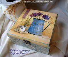 """Чайная шкатулка """"Cafe des Fleurs"""" БРОНЬ - чайная шкатулка,Декупаж,прованский стиль"""