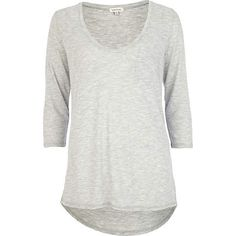 Grey 3/4 sleeve low scoop neck t-shirt £14.00