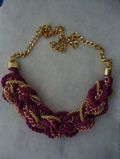 Maxi colar cordão de algodão com correntes