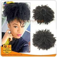 100% human hair drawstring afro kinky curly ponytail,malaysian hair ponytail, natural color,100g/120g/140g