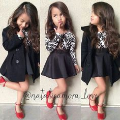 Formal Outfit for Girls || long sleeve, skater skirt, red shoes, curled hair, cute poses, ootd