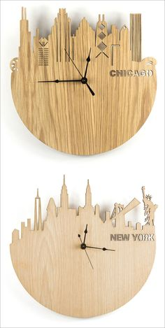 clock design ideas 313563192805663932 - These modern wood wall clocks feature laser cut skylines on them of famous cities from around the world. Source by Diy Clock, Clock Decor, Decoration Palette, Laser Cutter Ideas, Modern Clock, Wall Clock Design, Cnc Projects, Laser Cut Wood, Laser Cutting