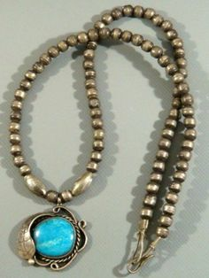 Antique 1930's Navajo Old Pawn Gem Turquoise Sterling Silver Bead Necklace | eBay