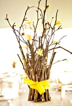 Rustic Centerpiece- wrap sticks around a mason jar, wrap with twine. Arrange flowers in it