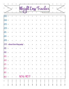 Bullet Journal Printable - Weight Loss Tracker