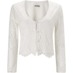 Miss Selfridge White Lace Jacket (49 CAD) ❤ liked on Polyvore featuring outerwear, jackets, white, lace jacket, miss selfridge, white lace jacket and white jacket