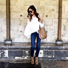Wore the cutest flouncy bright white top under $50 over the weekend to explore #London and honor my sweet Momma's loves and life  Shop it here: http://liketk.it/2pgfj via @liketoknow.it #liketkit #whatiwore #ltkunder50 | HEADS UP: Linked a pair of jeans that are super similar, in addition the exact ones, that are on sale
