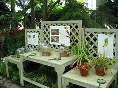 garden potting bench from old tables