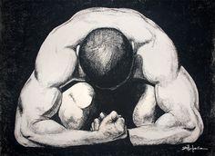 """CROUCHING MAN""    Original Art, Nude Male Figure Art – drawing / illustration Charcoal and Graphite ""CROUCHING MAN"" by Marcy Ann Villafaña  ""CROUCHING MAN"" 40″ x 30″  charcoal  2014    www.VillafanaArt.com"