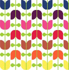 Retro tulips strung on vines  Modern cross от crossstitchtheline
